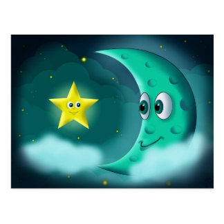 Blue Moon and Yellow Star Postcard