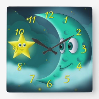 Blue Moon and Yellow Star Square Wall Clock