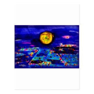 Blue moon in East Village, San Diego Postcard