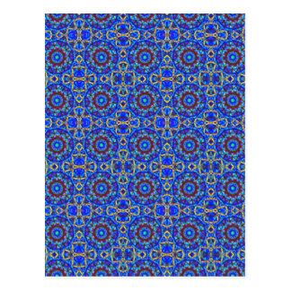 Blue moon pattern in geometric shapes. postcard