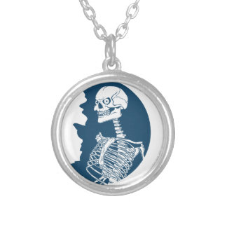 blue moon shirt silver plated necklace