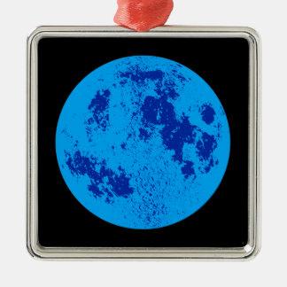 Blue Moon Silver-Colored Square Ornament