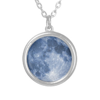 blue moon silver plated necklace