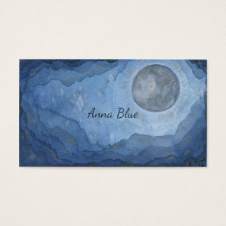 Blue Moon Space Watercolor Universe Full-moon Business Card