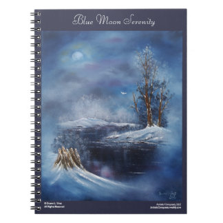 Blue Moon Winter Landscape Art Notebook