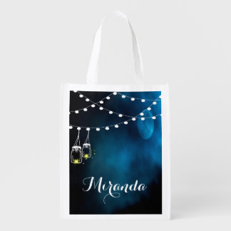 Blue moon with light strings and mason jars market tote