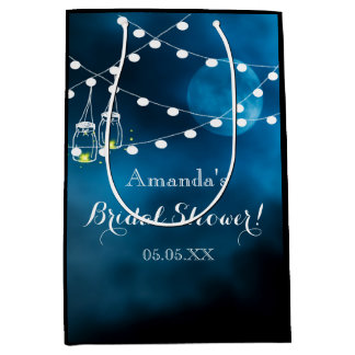Blue moon with masjon jars lights Bridal Shower Medium Gift Bag