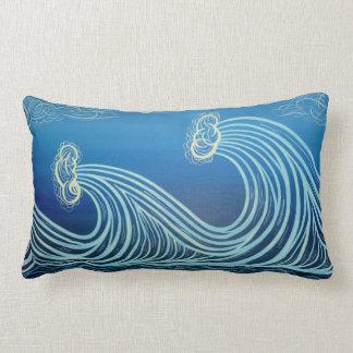 Blue Moonlight Waves Cotton Pillow
