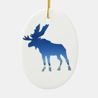 blue moose ceramic ornament