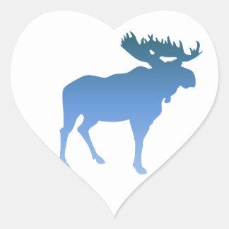 Blue Moose Heart Sticker