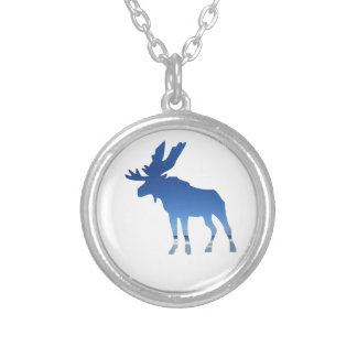blue moose silver plated necklace