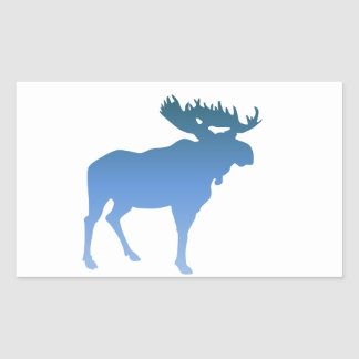 Blue Moose Rectangular Stickers