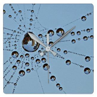 Blue Morning Dewy Spider Web Wall Clocks