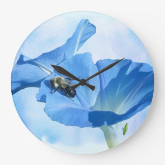 Blue Morning Glory and Bumblebee Large Clock