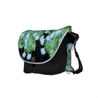 Blue Morning Glory Floral Flower Messenger Bag