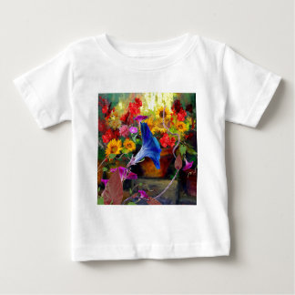 Blue Morning Glory Flower Garden Baby T-Shirt