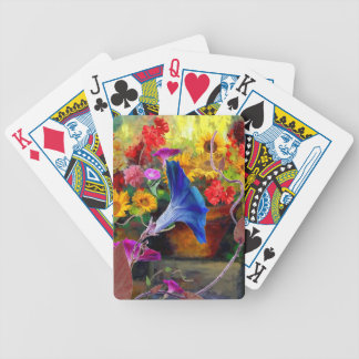Blue Morning Glory Flower Garden Bicycle Playing Cards