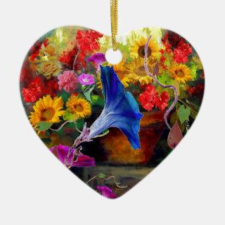 Blue Morning Glory Flower Garden Ceramic Heart Ornament