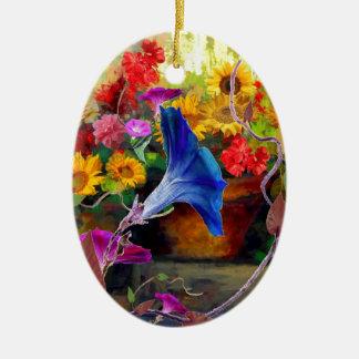Blue Morning Glory Flower Garden Ceramic Oval Ornament