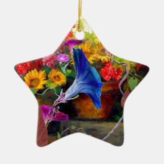 Blue Morning Glory Flower Garden Ceramic Star Ornament
