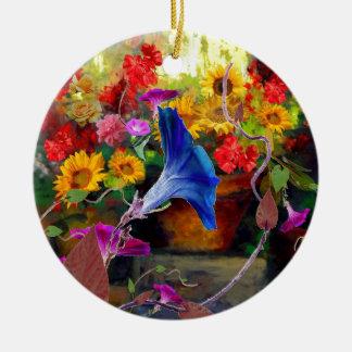 Blue Morning Glory Flower Garden Round Ceramic Ornament