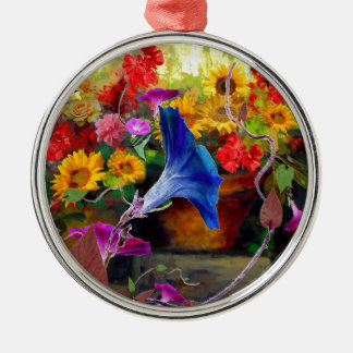 Blue Morning Glory Flower Garden Silver-Colored Round Ornament