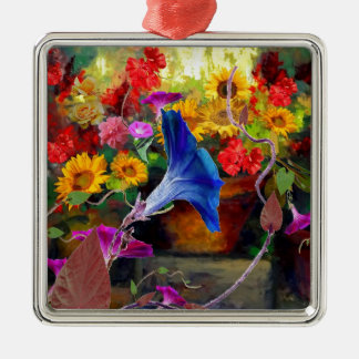 Blue Morning Glory Flower Garden Silver-Colored Square Ornament