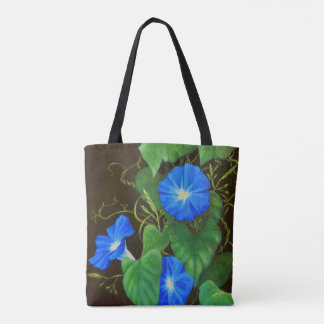 Blue morning glory flower with vines tote bag