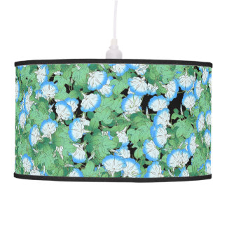 Blue Morning Glory Flowers Floral Pendant Lamp