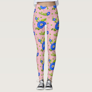 Blue Morning Glory Flowers Pattern ( Pale Pink ) Leggings