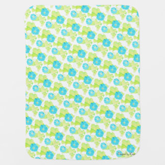 Blue Morning Glory Garden Baby Blanket