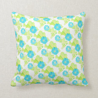 Blue Morning Glory Garden (w/ Blue back) Throw Pillow