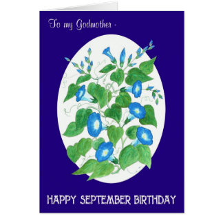 Blue Morning Glory September Birthday Godmother Card