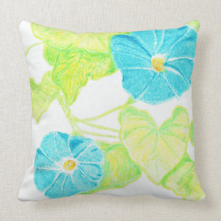 Blue Morning Glory (w/ Leaf detail back) Throw Pillow