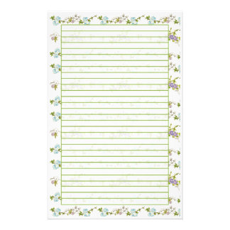 Blue Morning Glory Watercolor Flowers Lined Stationery