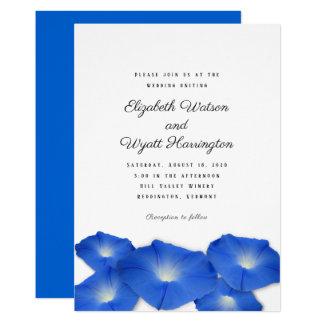 Blue Morning Glory Wedding Ceremony Invitation