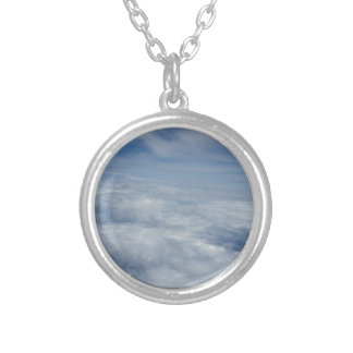 blue morning sky silver plated necklace