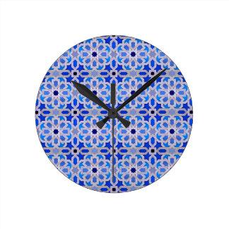 Blue Moroccan Geometric Pattern Round Clock