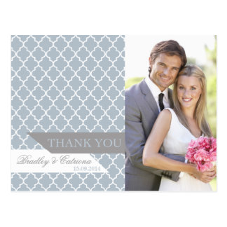 Blue Moroccan Pattern Wedding Thank You Postcard
