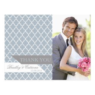 Blue Moroccan Pattern Wedding Thank You Postcard