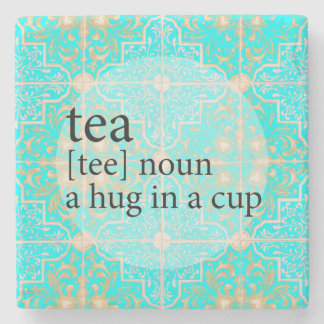 Blue Moroccan Tile Tea Time Hug in a Cup Stone Coaster