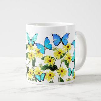 Blue Morpho Butterflies Coneflower Flowers Mug