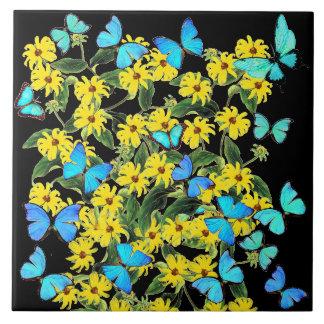 Blue Morpho Butterflies Coneflower Flowers Tile