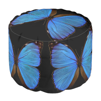 Blue Morpho Butterfly and Black Round Pouf