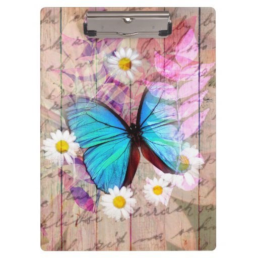Blue Morpho butterfly daisies barn wood collage Clipboards