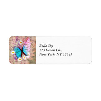 Blue Morpho butterfly daisies barn wood collage Return Address Label