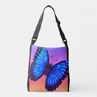 Blue Morpho Butterfly Dorsal and Ventral Crossbody Bag