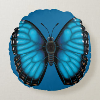 Blue Morpho Butterfly Dorsal and Ventral Round Pillow
