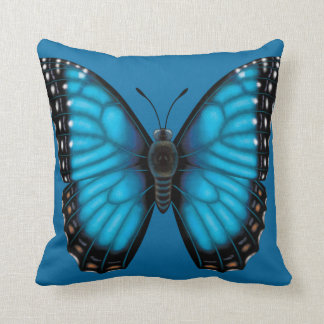 Blue Morpho Butterfly Dorsal and Ventral Throw Pillow