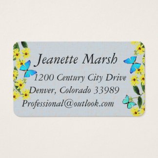 Blue Morpho Butterfly Flowers Business Cards